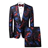 MAGE MALE Men's Designer 2-Piece Fish/Leopard Floral Printed One Button Notch Lapel Wedding Blazer Suit