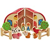 My Play Children's Wooden Barn Farm Animal Play Set 15 Pieces with Carry Case Handles for Ages 18 Months