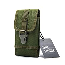 "OneTigris MOLLE Tactical Smartphone Pouch Quick Release Buckle Phone Holster for 4.7"" iPhone6 5.5"" iPhone6 Plus Galaxy Note 4, Blackberry 8300, HTC One Max (Green)"