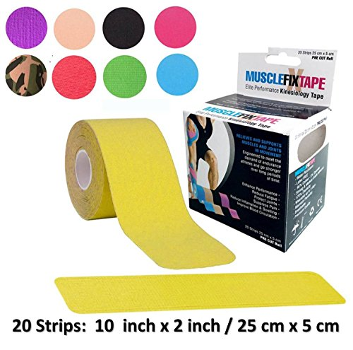Yellow Kinesiology Tape Roll | biking swimming running cycling hiking grip kit | maltracking swelling inflammation hypermobility poor posture round shoulders slouched spine scapular instability squash (Bicycle Tape Dispenser)