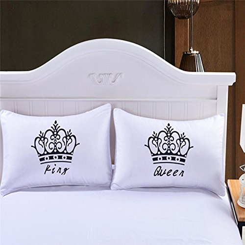 King and Queen Print Pillowcase, Crown Patterned Pillow Cover Protectors AHZZY