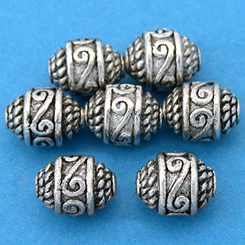 16g Rope Bali Barrel Beads Antq Silver Plt 10.5mm App 7 -