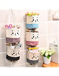 Cute Cat Cotton Linen Storage Bag Sundries Organizer Hanger Bag Door Wall Closet Hanging Pocket Pouch