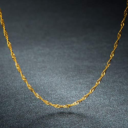 FidgetKute Au750 18K Yellow Gold Necklace Women's & Men Singapore Chain 1g 16
