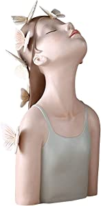 Bust Sculpture Butterfly Girl Resin Statue Figurine Character Crafts Gift Home Decor for Decorative Bedroom (Blue Butterfly Girl)
