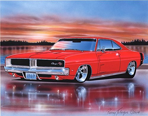 1969 Dodge Charger RT Muscle Car Art Print Red 11x14 Poster