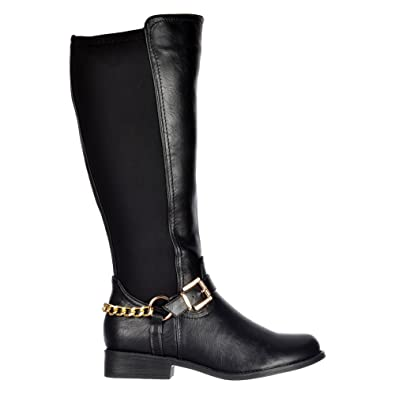 8f99b34b30c Onlineshoe Womens Ladies Extra Wide Calf Stretch Knee High Flat Riding Boot  - Gold Buckle -