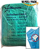 Starryshine Dental Medical Latex Free Disposable Isolation Gowns Knit Cuff 10 PCS Non Woven Back-Tie Gowns | Fluid Resistant & Fire Retard (Green)
