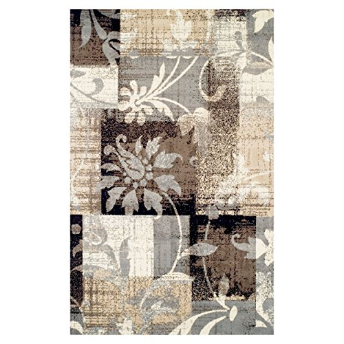 Superior Pastiche Collection Area Rug, 8mm Pile Height with Jute Backing, Chic Geometric Floral Patchwork Design, Fashionable and Affordable Woven Rugs - 4' x 6' Rug
