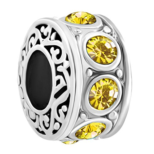 LuckyJewelry Filigree Charm Yellow Crystal November Birthstone Spacer Round Beads Fit Charms Bracelet