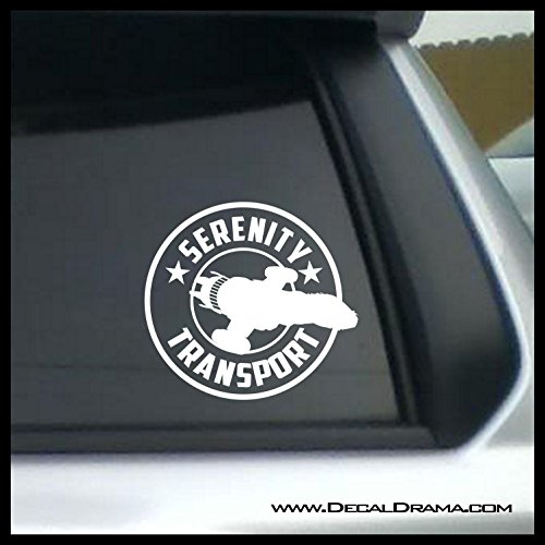 Serenity Transport Company logo SMALL Vinyl Decal | Firefly Serenity Browncoats Malcolm Reynolds Reavers Jayne Cobb SHINY River Tam Misbehave | Cars Trucks Laptops Cups Tumblers Mugs | Made in the USA