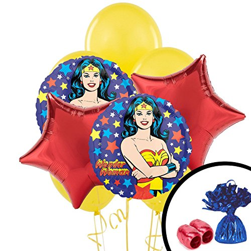 Mighty Super Hero Girl Power Wonder Woman Birthday Party Balloon Bouquet -
