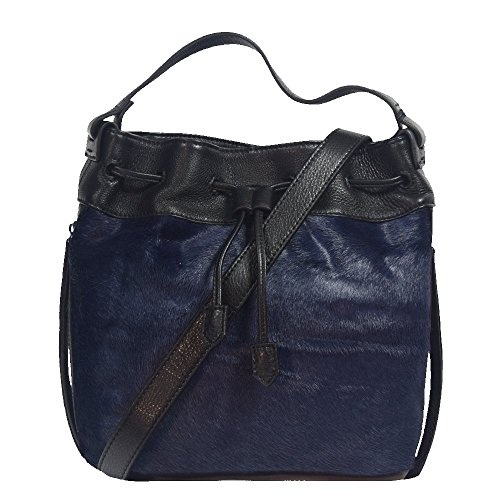 'aveline' Designer Black & Blue Pony Fur Cross Body Handbag By Christopher Kon Hx-5388-blue