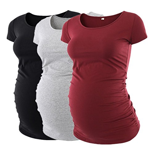 Liu & Qu Womens Maternity Classic Side Ruched T-Shirt Tops Mama Pregnancy (Ruched Shirt Top)