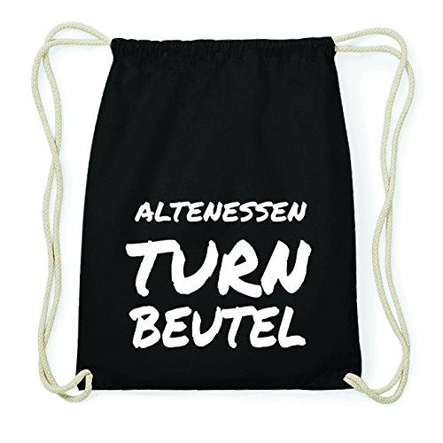 JOllify ALTENESSEN Hipster Turnbeutel Tasche Rucksack aus Baumwolle - Farbe: schwarz Design: Turnbeutel 5vWX294R