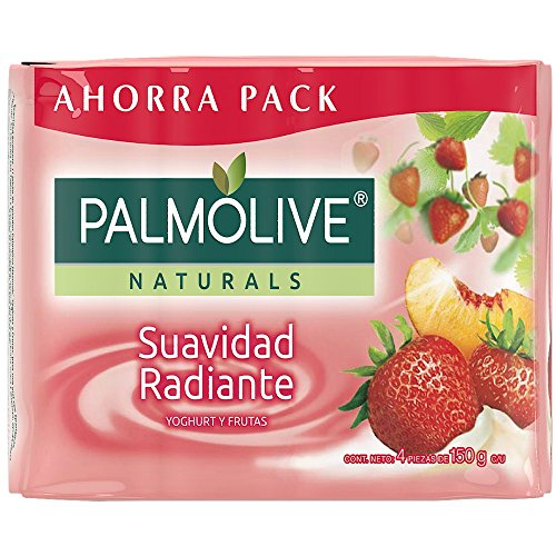 4 piezas de Jabón de Tocador Palmolive Naturals Yoghurt y Frutas en Barra 150 G