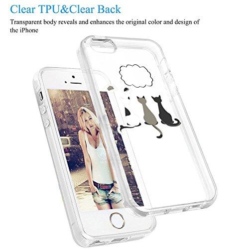 Vanki® Funda iPhone 5/5S/SE, Protectiva Carcasa de Silicona de gel TPU Transparente, Ultra delgada, Amortigua los golpes Case Cover Para iPhone 5/5S/SE 1