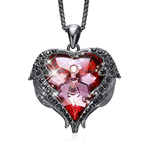Glass Heart Red Necklace (CDE Dark Angel Wing Pendant Necklace Swarovski Red Heart Crystal Necklaces for Women Girls)