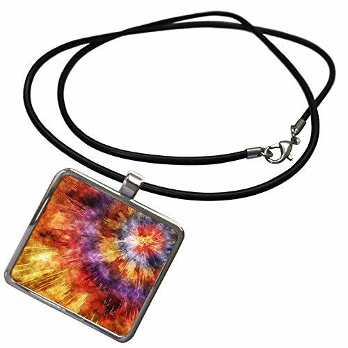 3dRose Phil Perkins - Graphic Design - Shades of Orange Tie Dye Starburst - Necklace With Rectangle Pendant (Shade Starburst)