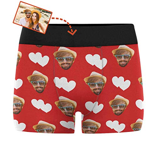 Custom Boxers for Men Love Hearts Red Men's Boxer Briefs with Wife's Face Shorts