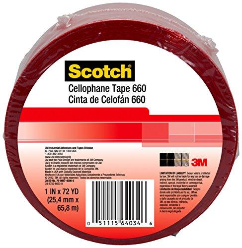 Scotch 64035 Light Duty Packaging Tape 660 Red Heat Resistance Splicing, 1-1/2'' x 72 yd. by Scotch