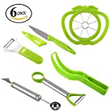 #10: Coralpearl Plastic Stainless Steel Kitchen Fruit Carving Tool Set Garnishing Melon Baller Scoop Spoon Knife Shapes Kit With Apple Cutter Corer, Watermelon Slicer Cutter Server and Peeler Pack of 6
