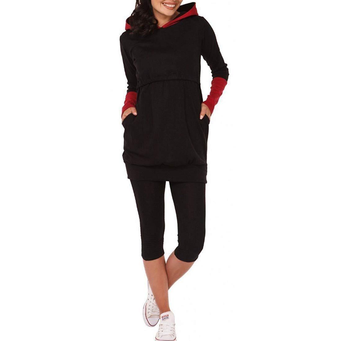 MUCHAO Moda Donna maternità Side-Shirred Infermieristica Top Manica Lunga Madri L'Allattamento al Seno Vestiti Autunno Inverno Felpa con Cappuccio Tasca Felpa