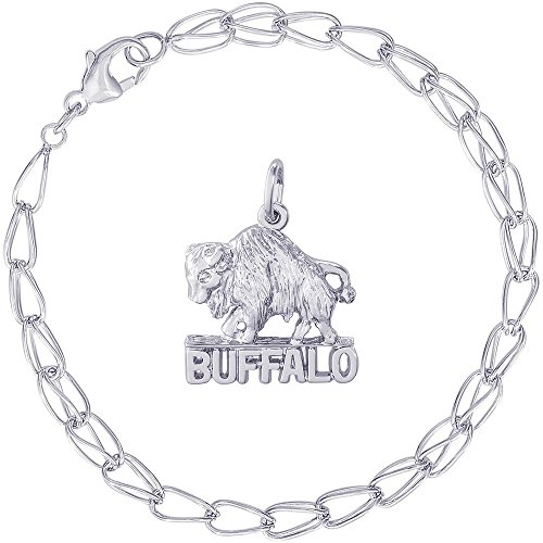 Rembrandt Charms Sterling Silver Buffalo, New York Charm on a Double Twist Bracelet, 8