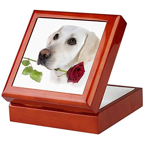 CafePress White Lab Holds Rose Keepsake Box, Finished Hardwood Jewelry Box, Velvet Lined Memento - Tile Box Labrador