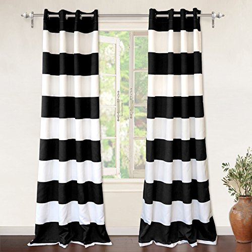 "Mia Stripe Thermal Insulated Room Darkening Grommet Unlined Window Curtains, Set of Two Panels, Each 52""x84 (Black and Pure White Stripes)"