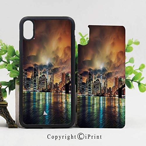 iPhone x Case,Fantasy Dramatic Sky in New York at Nighttime Stormy Sunset Vibrant Water Reflections Sturdy Non-Slip Case Lightweight Shell Protective for iPhone X,Multicolor