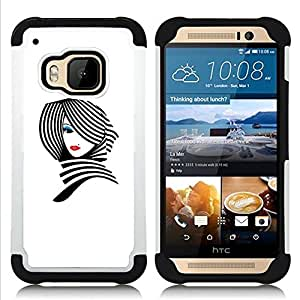 - lady white black stylish lips/ H??brido 3in1 Deluxe Impreso duro Soft Alto Impacto caja de la armadura Defender - SHIMIN CAO - For HTC ONE M9