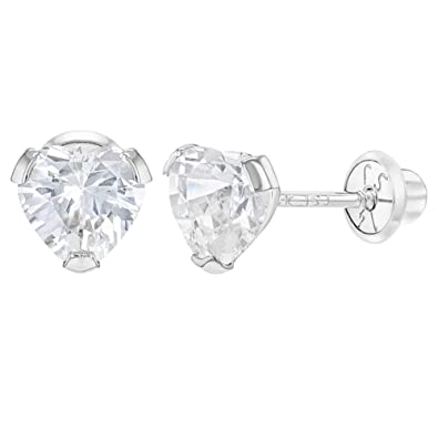b3234050d Amazon.com: 14k White Gold CZ Small Heart Screw Back Earrings for Baby  Toddlers Young Girls: Jewelry