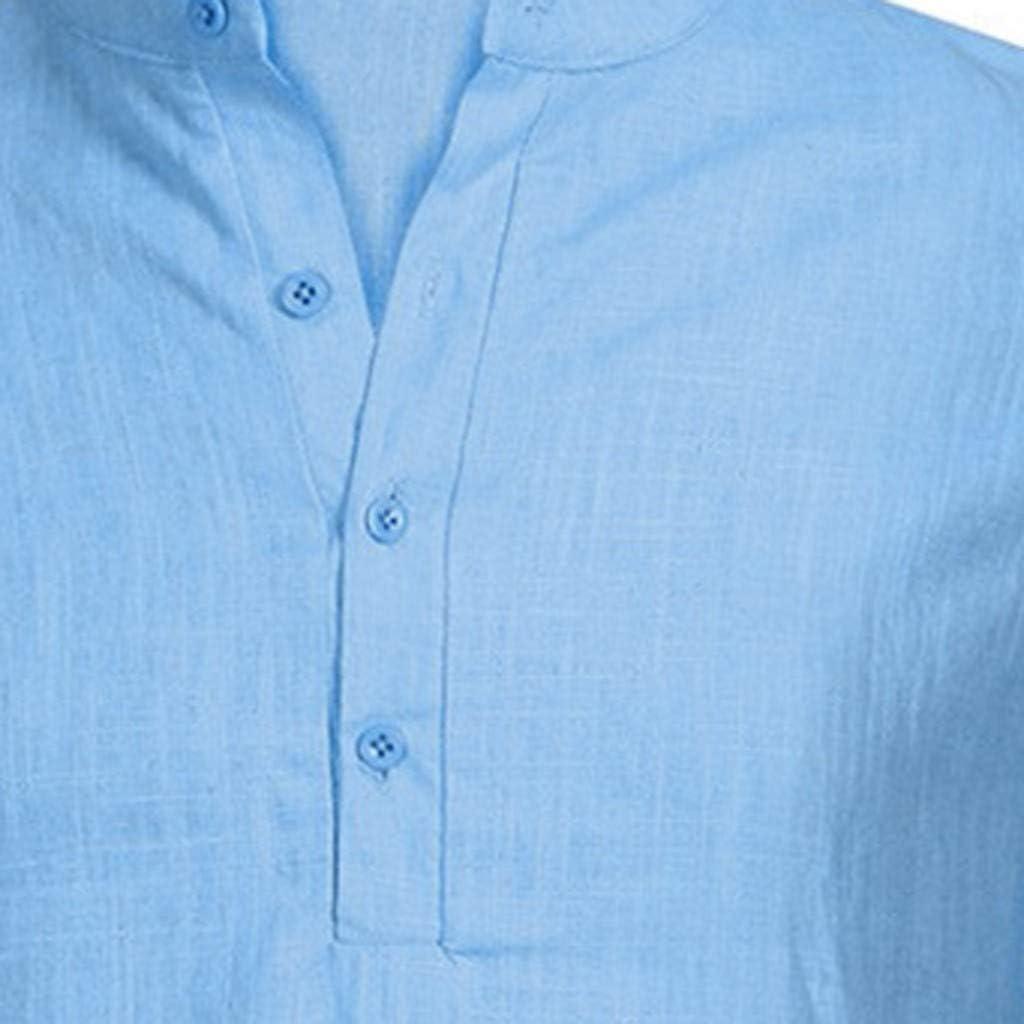 Luckycat Algodón Lino Camisa Hombre de Manga Corta Henry Camisas Blusas Casual Camisa de Hombre Blusa Superior de Manga Corta de Color Puro con Bolsillo de Solapa de Moda para Hombre de