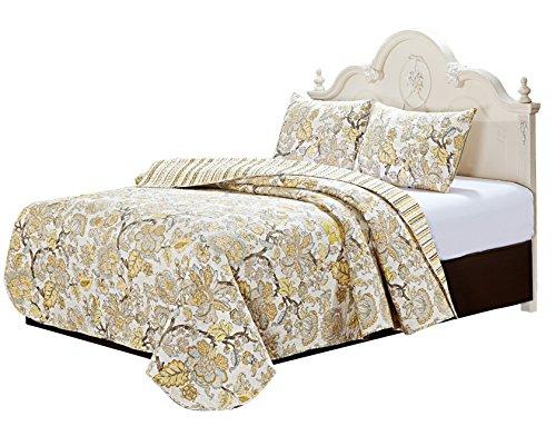 Gold Leaf Quilt with Pillow Shams Set (Super King)