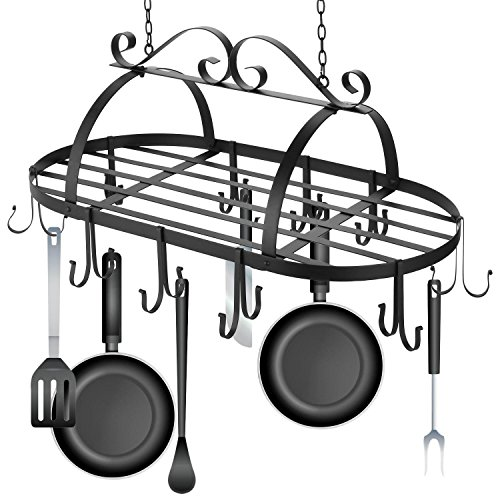 Ferty Kitchen Ceiling Mounted Oval Iron Hanging Pots Holder Pans Hanger Kitchen Storage Utility Cookware Hook Rack by Ferty