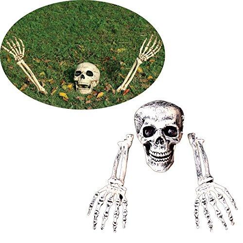 Lannmart 3 Piece Halloween Horror Buried Alive Skeleton Skull Garden Yard Lawn Decoration Halloween Decorations -