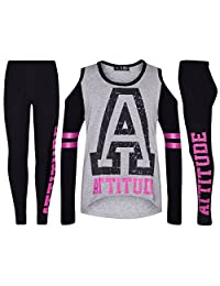 Girls Top Kids Attitude Print Trendy Top & Fashion Legging Set Age 7-13 Years