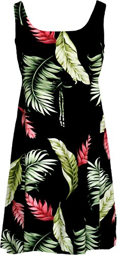 Dress Ginger In Black (RJC Womens Floating Red Ginger Empire Tie Front Short Tank Dress in Black - 2X Plus)