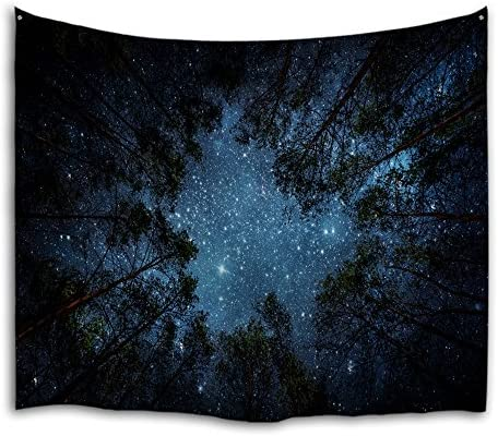 QiyI Forest Galaxy Tapestry Wall Hanging Nature Starry Night Sky Blanket Trees Universe Large Aesthetic Tapestries Psychedelic Bedroom D cor Milky Way Tapestry – 90 L x 71 W, The Night in The Forest
