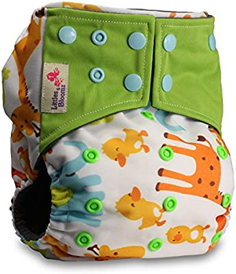 Reusable Pocket Real Cloth Nappy Washable Diaper Bamboo Charcoal with 2 Microfibre Inserts Pattern 33 Littles /& Bloomz