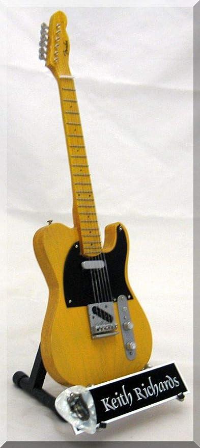 KEE|ITH RICHARDS Guitarra miniatura con púa de guitarra ROLLING ...