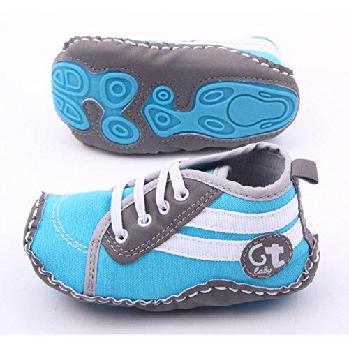 Fire frog Running Sneaker - Zapatos primeros pasos de Lona para niño azul claro