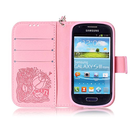 Funda Galaxy SIII Mini, Carcasa Plegable para Galaxy S3 Mini, Funda de piel Galaxy S3 Mini, Lifetrut Sólido Shiny Sparkle libro de estilo funda de cuero con ranura para tarjetas de cierre magnético so E204-Rose Flor en rosa