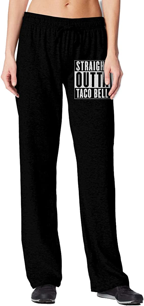 Women's Straight Outta Taco Bell Open Bottom Sweatpants with Pockets Gym Jogging Pants