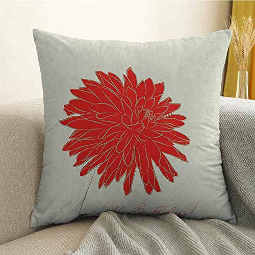 FreeKite Dahlia Bedding Soft Pillowcase Sketching of a Colossal Dahlia Blossom Retro Style in Blood Red Colored Single Flower Hypoallergenic Pillowcase W16 x L24 Inch Red Tan
