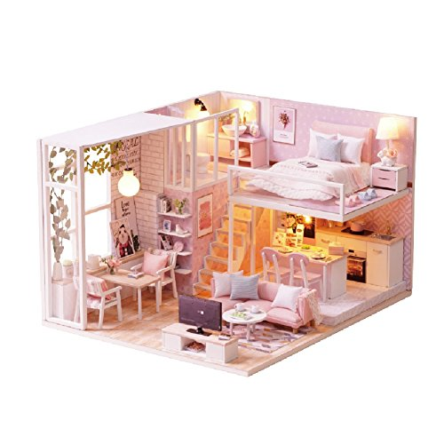 (CUTEBEE Dollhouse Miniature with Furniture, DIY Dollhouse Kit Plus Dust Proof and Music Movement, 1:24 Scale Creative Room Idea(Tranquil)