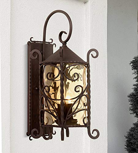 "Casa Seville Rustic Outdoor Wall Light Fixture Mediterranean Inspired Dark Walnut Iron Scroll 23 3/4"" Lantern Champagne Hammered Glass for Exterior House Porch Patio Deck - John Timberland"