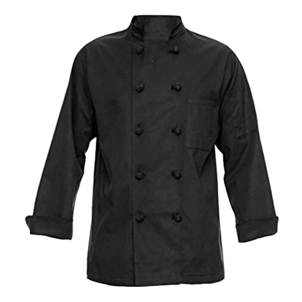 TopTie Unisex Long Sleeve Button Chef Coat, Black Knot Button