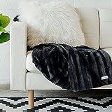SARANONI Super Soft Large Home Throw Luxury Blanket, Modern Striped Decorative Design (Charcoal Stripe)